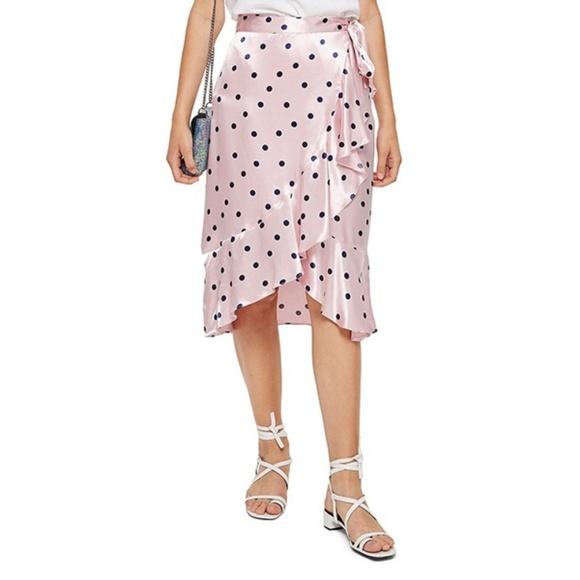 e072d97b92 Topshop Skirts   Satin Spot Ruffle Skirt   Poshmark